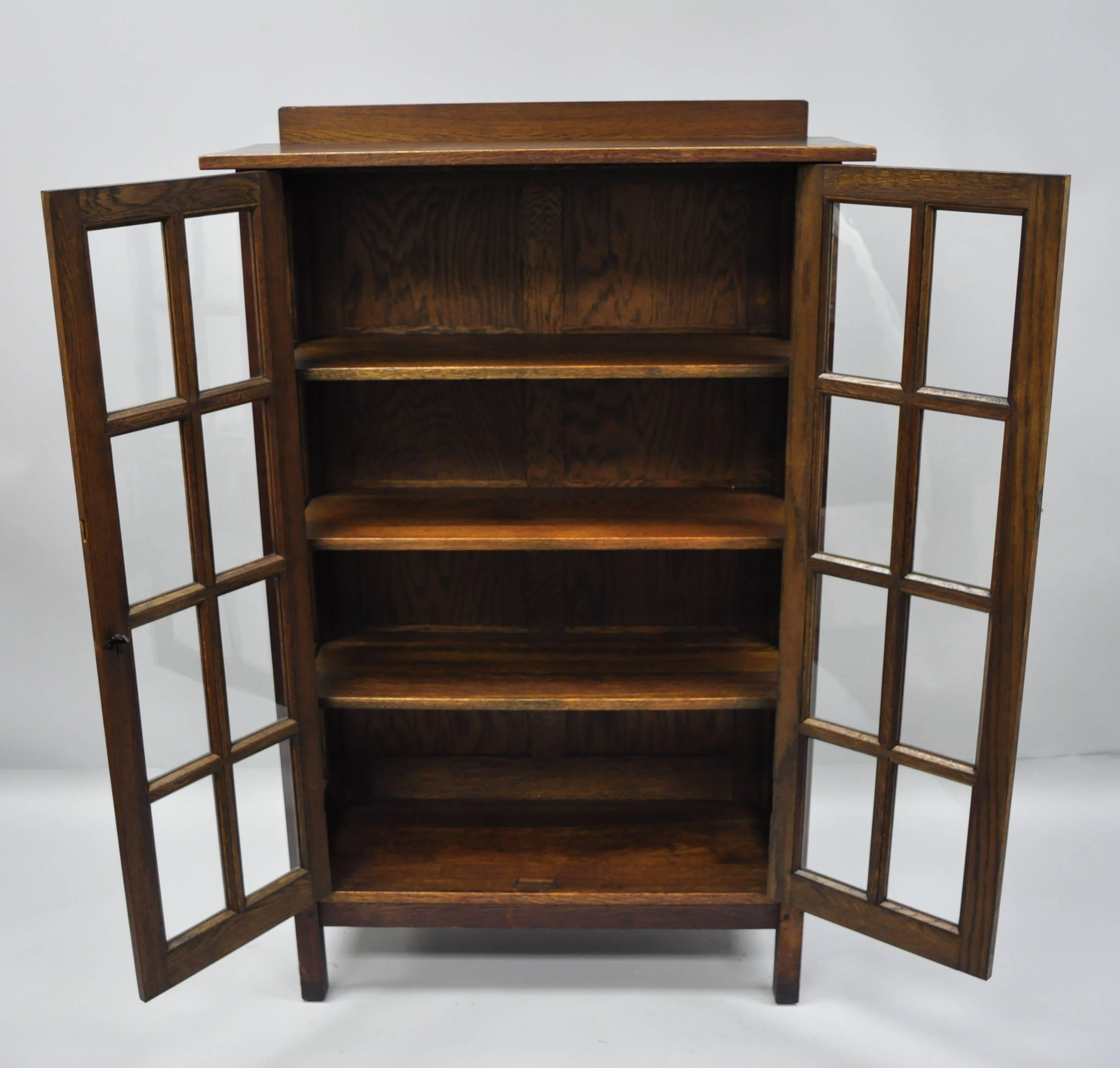 American Gustav Stickley Mission Arts Crafts Oak Glass Door China Cabinet  Curio Bookcase For Sale