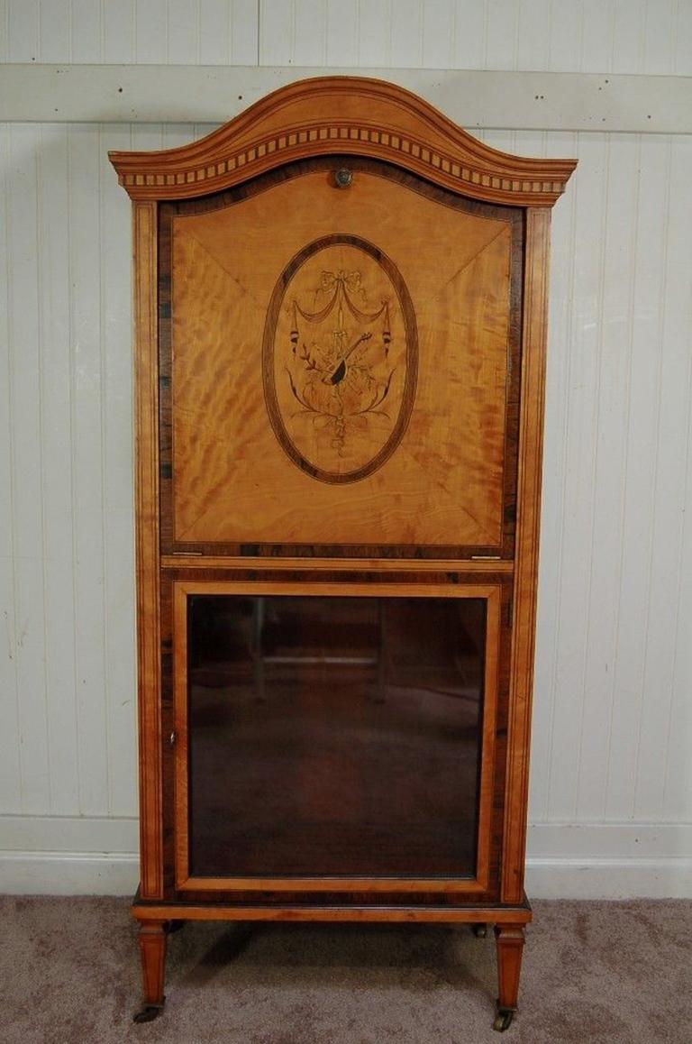 Fantastic antique 19th century satinwood hand inlaid French sheet music  cabinet in the Adams style. - Antique Satinwood Musical Inlaid French Adams Sheet Music Cabinet