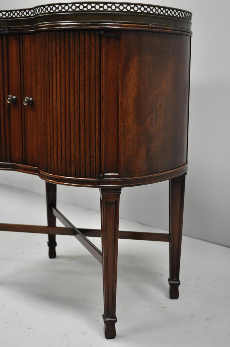 Marble Top French Louis XVI Maison Jansen Style Bombe Cabinet Side Table For Sale 5