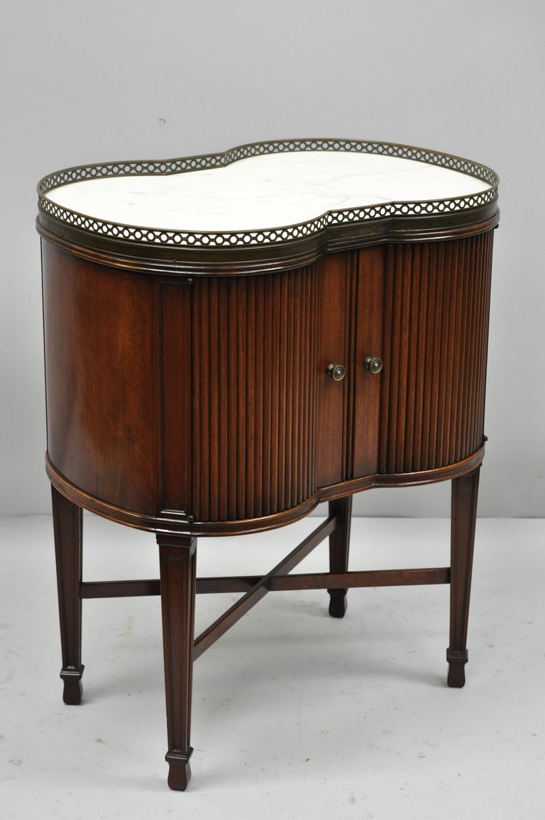 Marble Top French Louis XVI Maison Jansen Style Bombe Cabinet Side Table For Sale 6