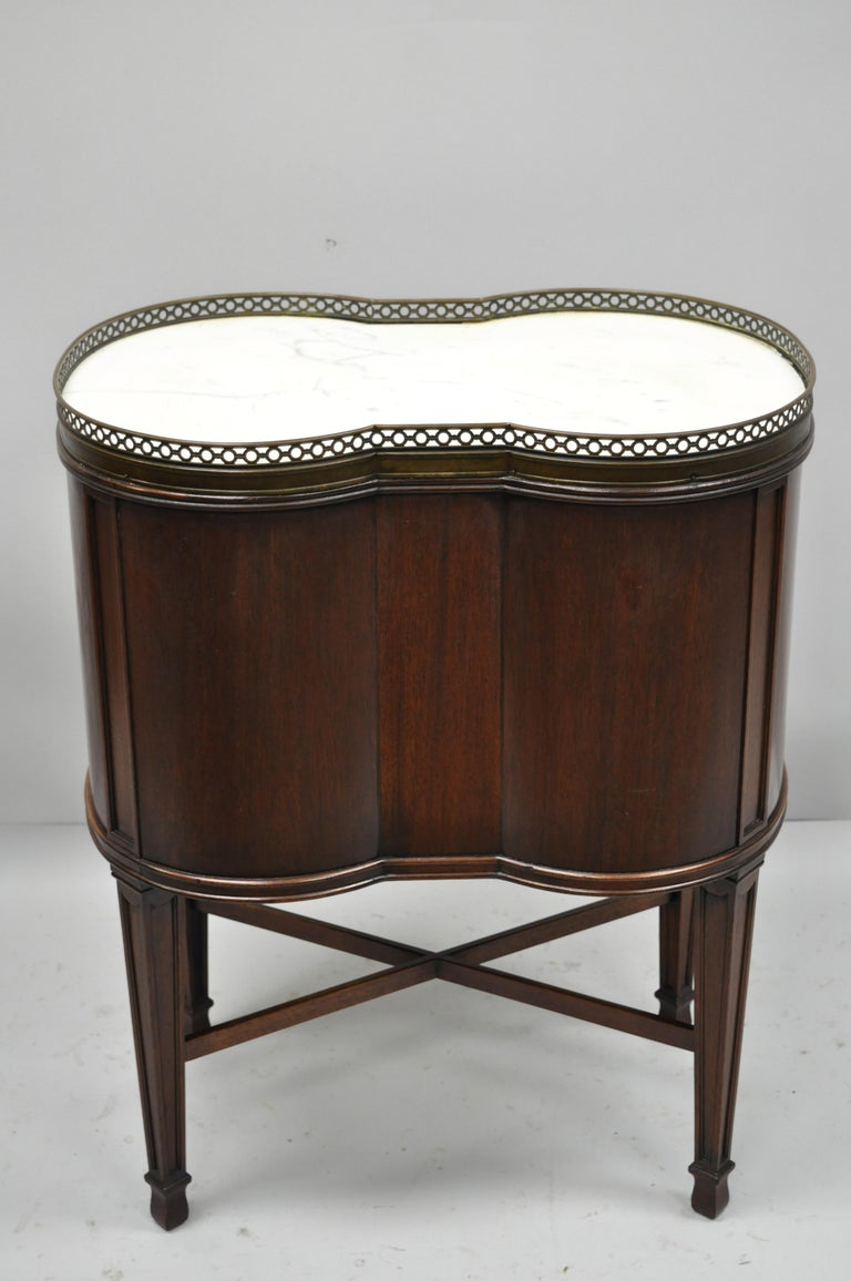 Marble Top French Louis XVI Maison Jansen Style Bombe Cabinet Side Table For Sale 3