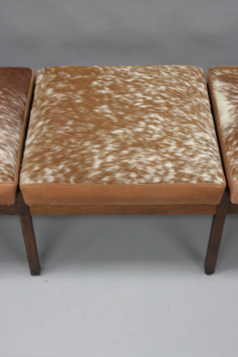 Three Seat Mid Century Danish Modern Teak Wood Long Bench
