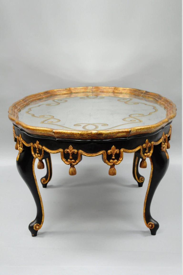 Black And Gold Tassel And Glomis Mirror Top Coffee Table French Louis Xvi Style For Sale At