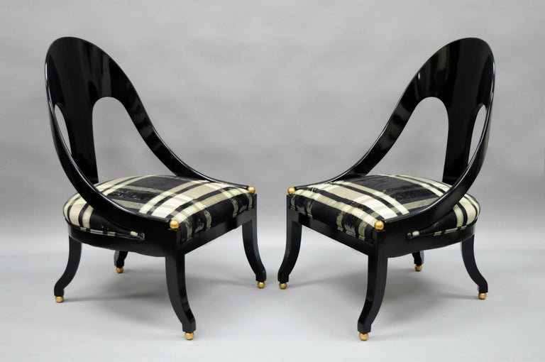Pair Of Michael Taylor For Baker Black Lacquer And Gold Spoon Back Slipper Chairs For Sale At