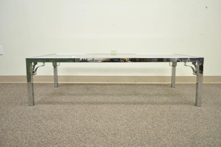 20th Century Mid-Century Modern Polished Chrome X-From Glass Top Coffee Table For Sale