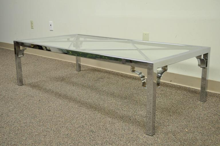 Mid-Century Modern Polished Chrome X-From Glass Top Coffee Table For Sale 5