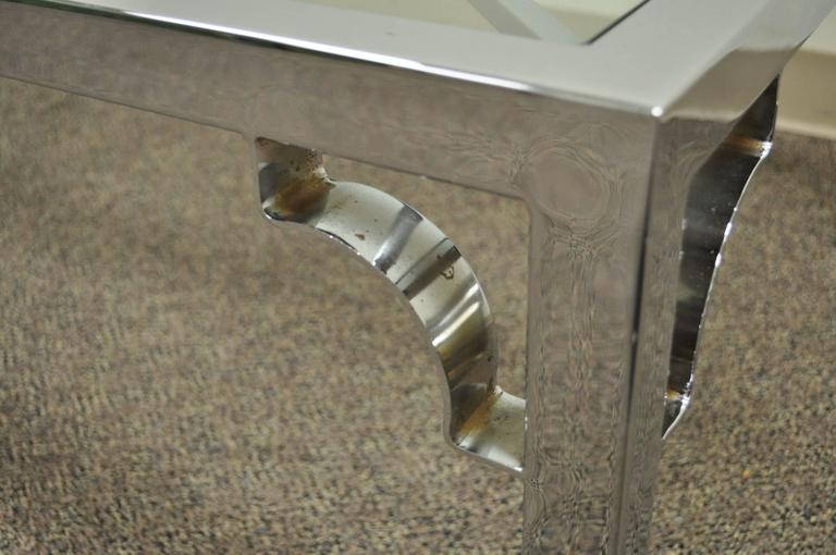 Mid-Century Modern Polished Chrome X-From Glass Top Coffee Table For Sale 2