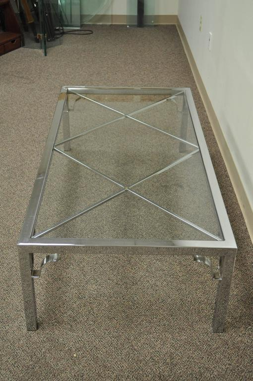 American Mid-Century Modern Polished Chrome X-From Glass Top Coffee Table For Sale