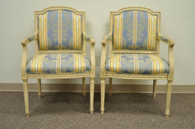 Pair of French Louis XVI Style Finely Carved and Painted Fauteuils or Armchairs For Sale 4