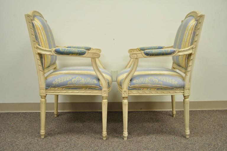 20th Century Pair of French Louis XVI Style Finely Carved and Painted Fauteuils or Armchairs For Sale