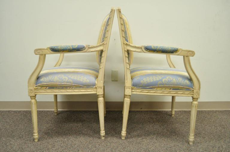 Pair of French Louis XVI Style Finely Carved and Painted Fauteuils or Armchairs For Sale 2