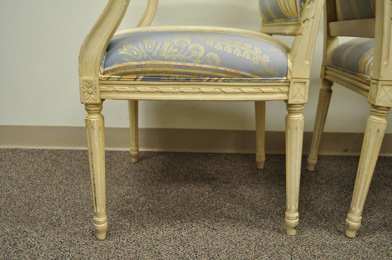 Pair of French Louis XVI Style Finely Carved and Painted Fauteuils or Armchairs For Sale 1