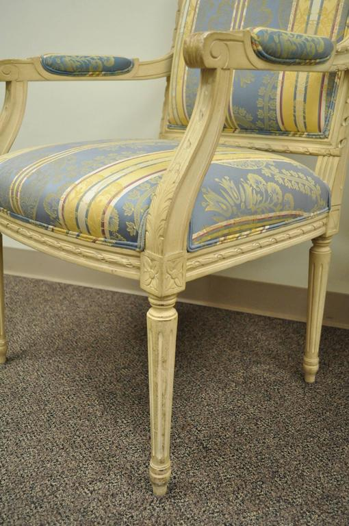 American Pair of French Louis XVI Style Finely Carved and Painted Fauteuils or Armchairs For Sale
