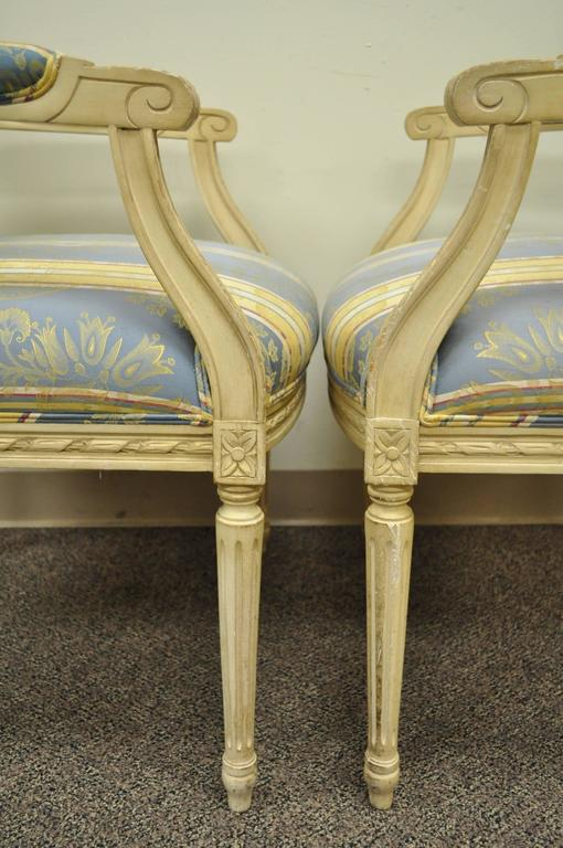 Pair of French Louis XVI Style Finely Carved and Painted Fauteuils or Armchairs In Excellent Condition For Sale In Philadelphia, PA