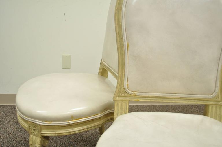 Set of 6 French Louis XV Style Carved & Painted Cream Leather Dining Chairs For Sale 4