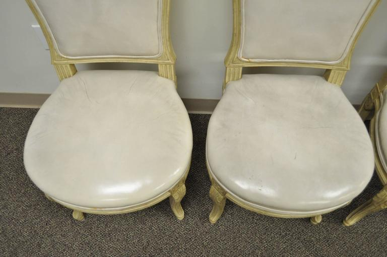 Set of 6 French Louis XV Style Carved & Painted Cream Leather Dining Chairs For Sale 1