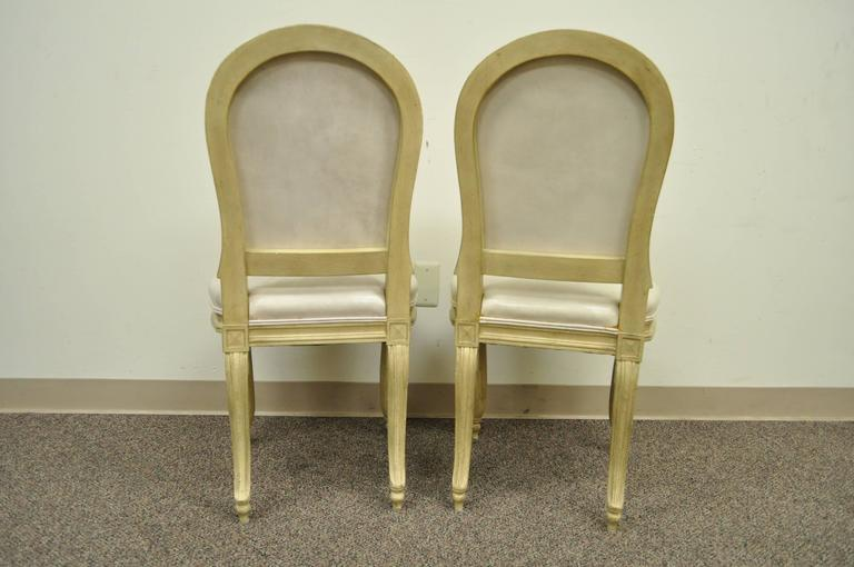 Set of 6 French Louis XV Style Carved & Painted Cream Leather Dining Chairs For Sale 5