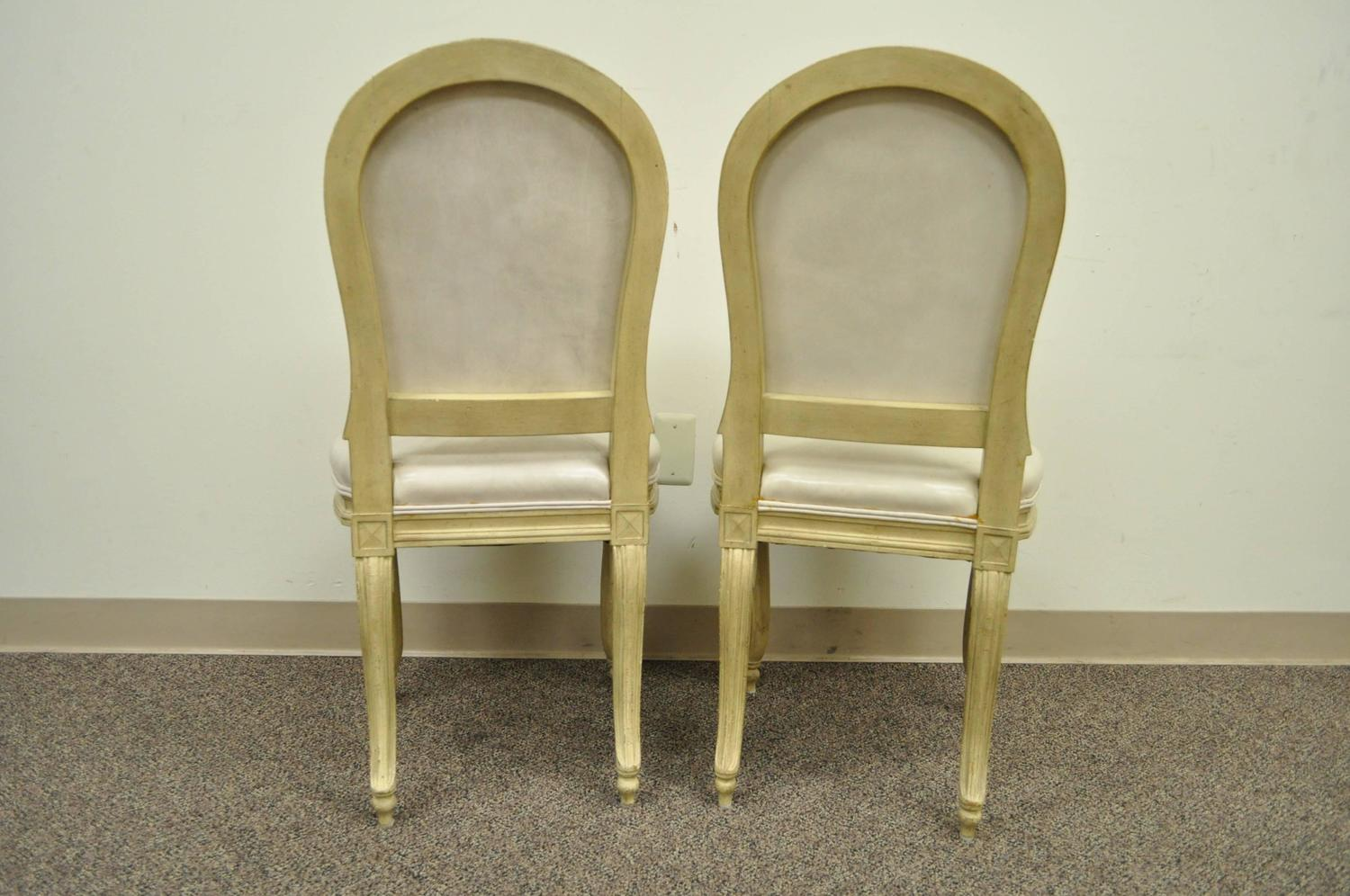 carved and painted cream leather dining chairs for sale at 1stdibs