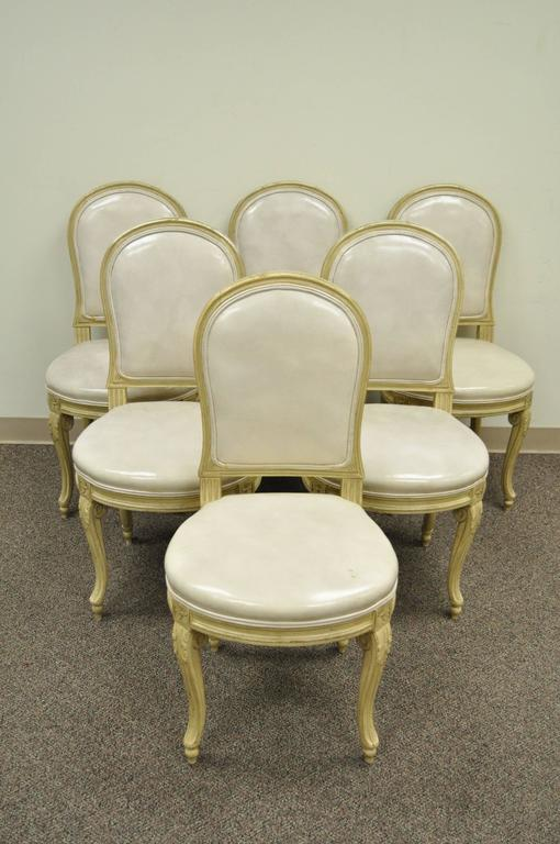 Set of 6 French Louis XV Style Carved & Painted Cream Leather Dining Chairs For Sale 6