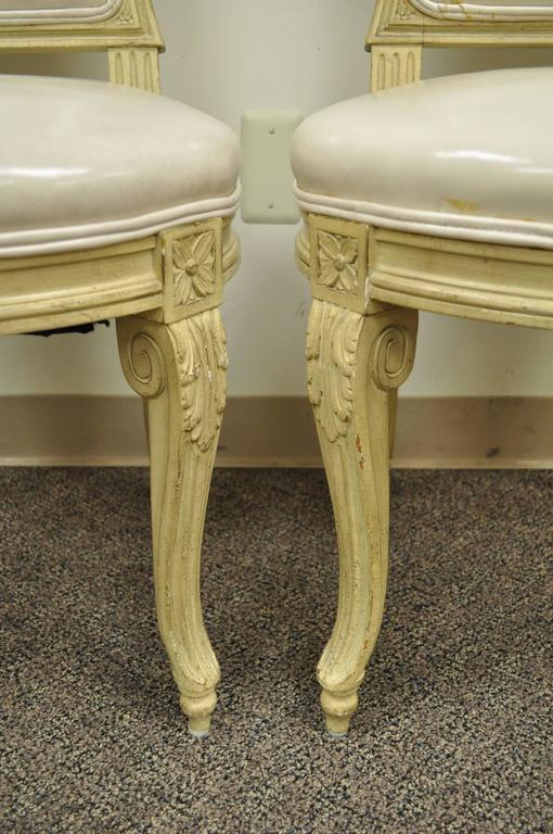 20th Century Set of 6 French Louis XV Style Carved & Painted Cream Leather Dining Chairs For Sale