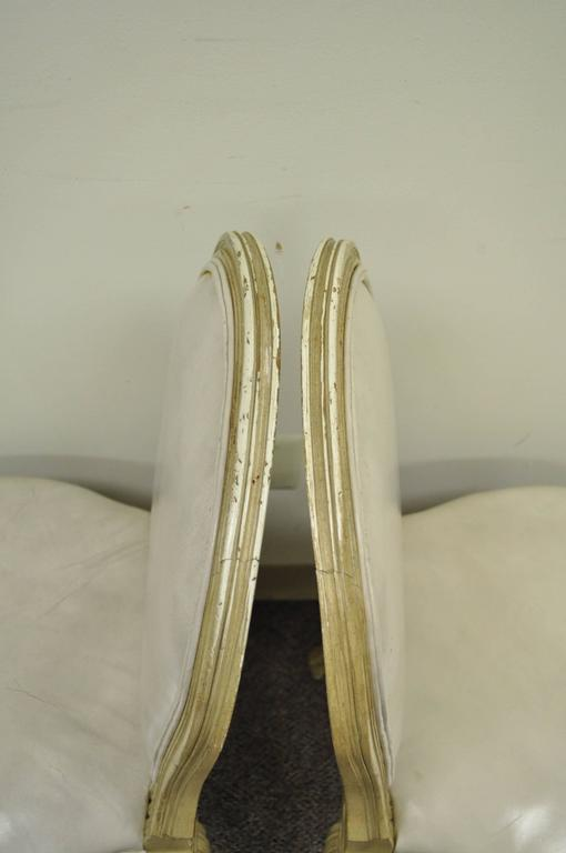 Set of 6 French Louis XV Style Carved & Painted Cream Leather Dining Chairs For Sale 3