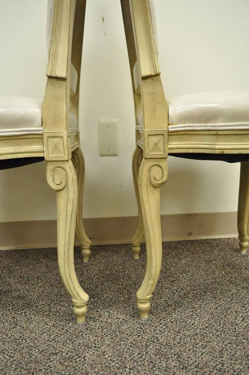 Set of 6 French Louis XV Style Carved & Painted Cream Leather Dining Chairs For Sale 2