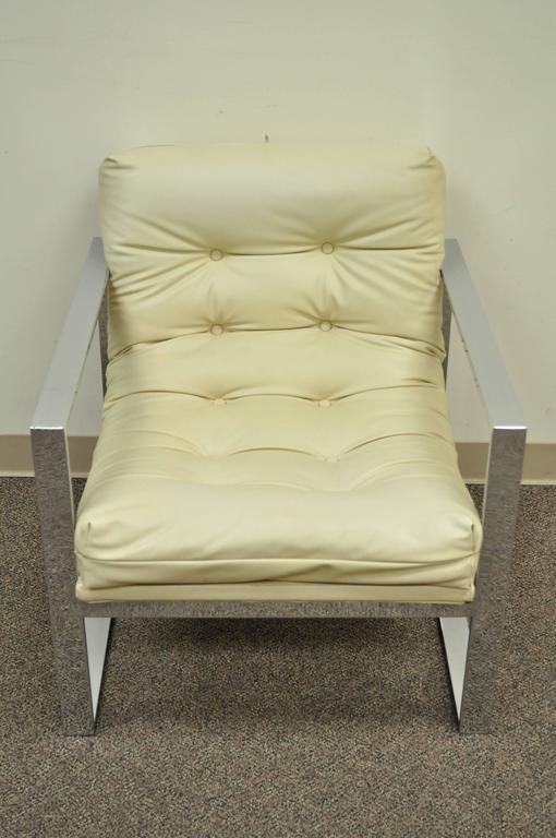 Mid-Century Modern Mid Century Modern Chrome Flat Bar Lounge or Club Chair after Milo Baughman For Sale