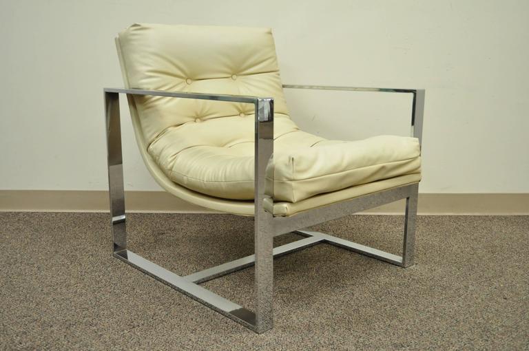 Mid Century Modern Chrome Flat Bar Lounge or Club Chair after Milo Baughman For Sale 4