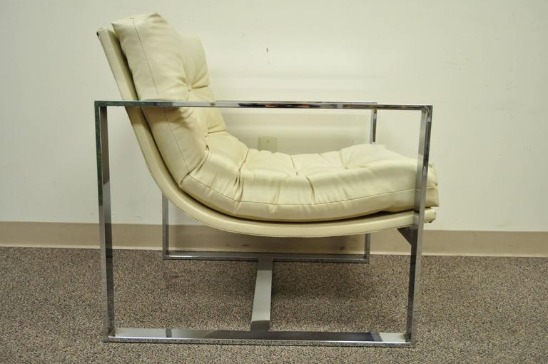 20th Century Mid Century Modern Chrome Flat Bar Lounge or Club Chair after Milo Baughman For Sale