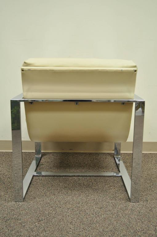 Mid Century Modern Chrome Flat Bar Lounge or Club Chair after Milo Baughman For Sale 2