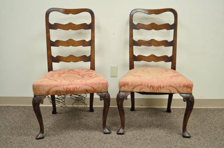 Pair of 18th C Hand Carved Walnut George II Ladder Back Dining Side Chairs For Sale 5