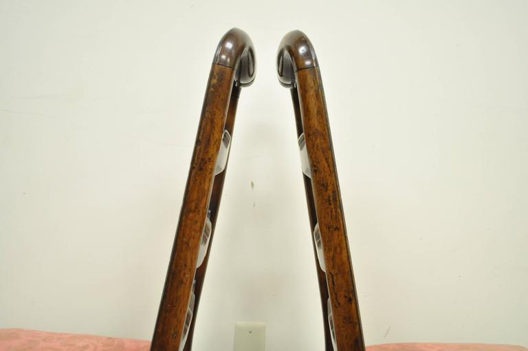 Pair of 18th C Hand Carved Walnut George II Ladder Back Dining Side Chairs For Sale 3