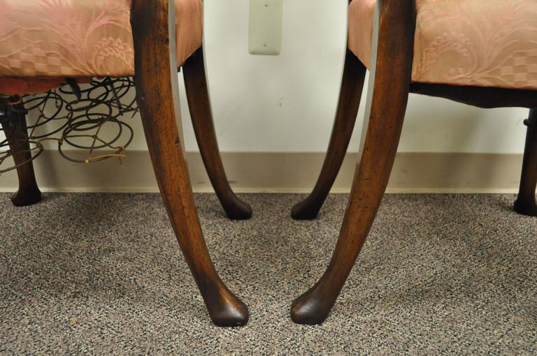 Pair of 18th C Hand Carved Walnut George II Ladder Back Dining Side Chairs For Sale 2