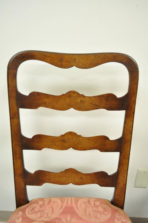 18th Century Pair of 18th C Hand Carved Walnut George II Ladder Back Dining Side Chairs For Sale
