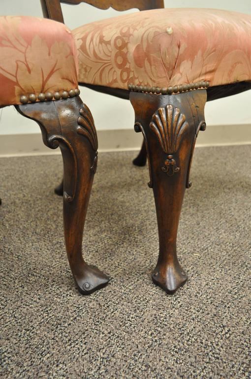 English Pair of 18th C Hand Carved Walnut George II Ladder Back Dining Side Chairs For Sale