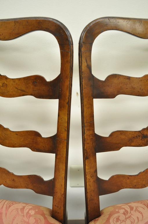 Pair of 18th C Hand Carved Walnut George II Ladder Back Dining Side Chairs For Sale 4