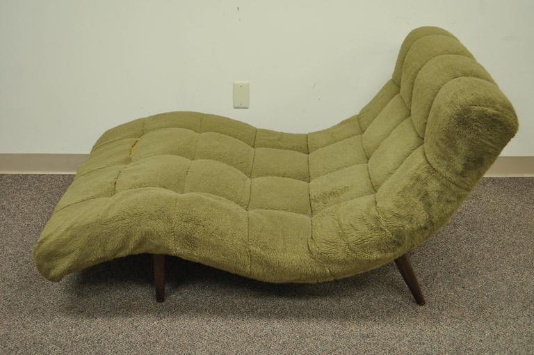 American Mid Century Modern Double Wide Green Wave Chaise Lounge attr to  Adrian Pearsall For Sale
