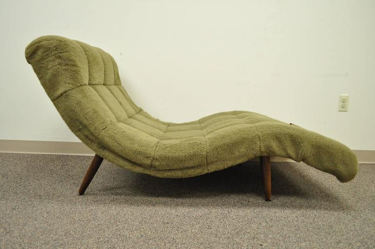 MidCentury Modern Double Wide Wave Chaise Lounge in the style of