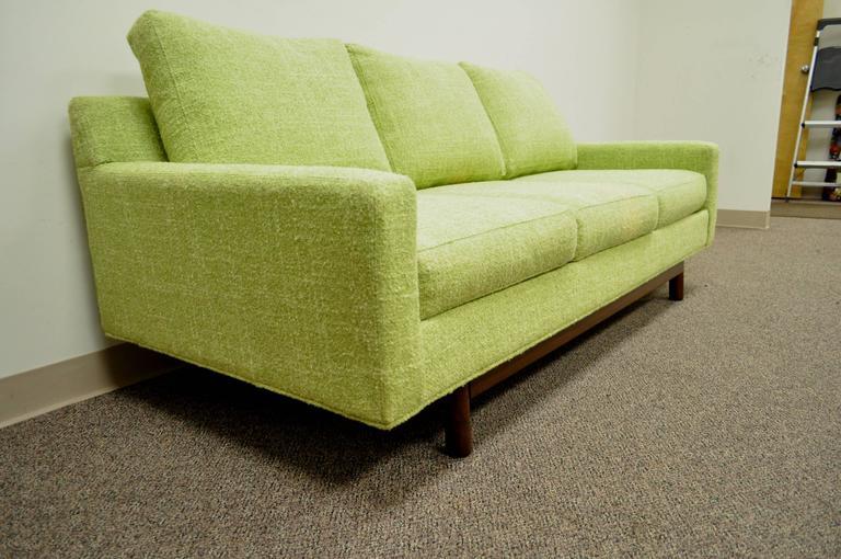 1960s Vintage Mid Century Modern Green Square Frame Upholstered Modernist Sofa 2