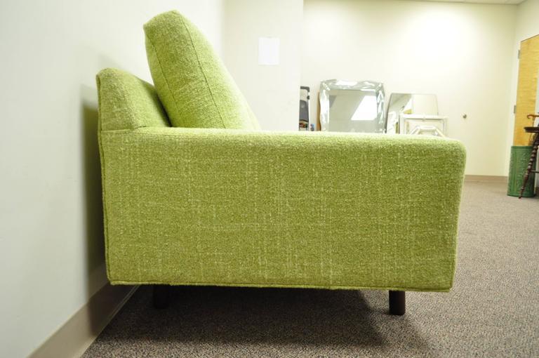 Walnut 1960s Vintage Mid Century Modern Green Square Frame Upholstered Modernist Sofa