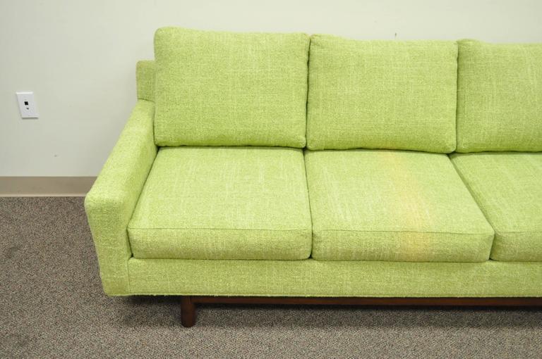 20th Century 1960s Vintage Mid Century Modern Green Square Frame Upholstered Modernist Sofa