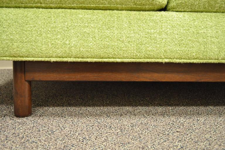 American 1960s Vintage Mid Century Modern Green Square Frame Upholstered Modernist Sofa
