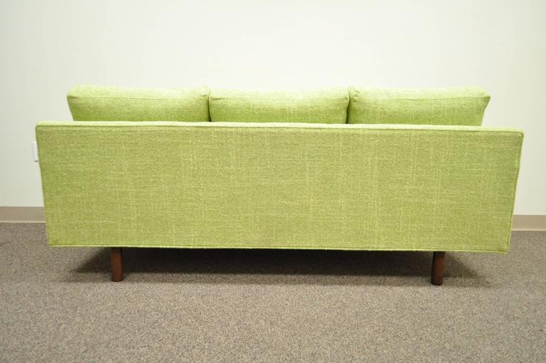 1960s Vintage Mid Century Modern Green Square Frame Upholstered Modernist Sofa 1