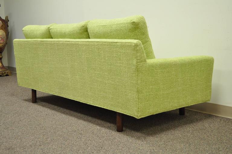 Mid-Century Modern 1960s Vintage Mid Century Modern Green Square Frame Upholstered Modernist Sofa
