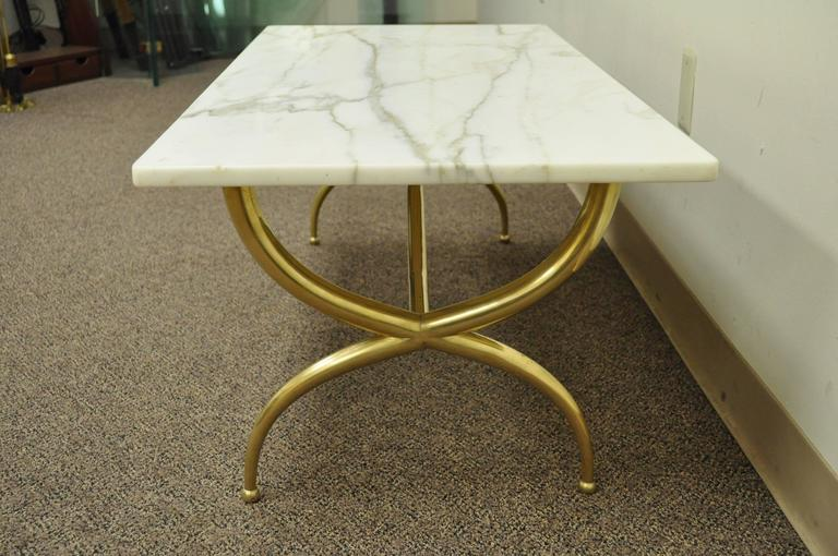 Stunning Brass And Marble Italian Modernist Rectangular Coffee Table In The  Style Of Gio Ponti.
