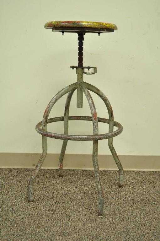 Vintage Adjustable Wood u0026 Metal Work Stool Artist Painters Drafting Swivel Chair 2 & Vintage Adjustable Wood and Metal Work Stool Artist Painters ... islam-shia.org