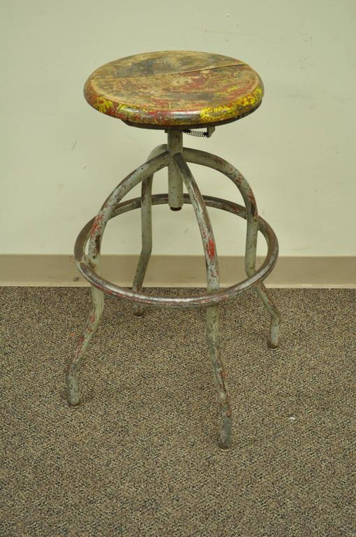 Vintage Adjustable Wood And Metal Work Stool Artist
