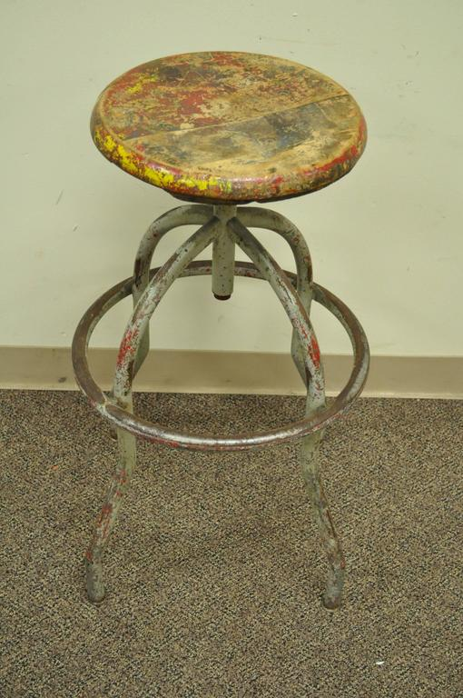 Vintage Adjustable Wood U0026 Metal Work Stool Artist Painters Drafting Swivel  Chair 3