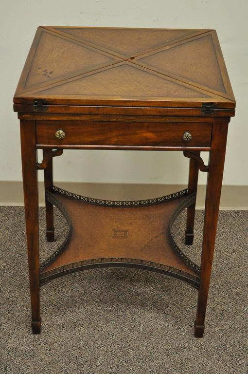 High Quality, Early 20th Century, English Game Table. Item Features A  Tooled Leather