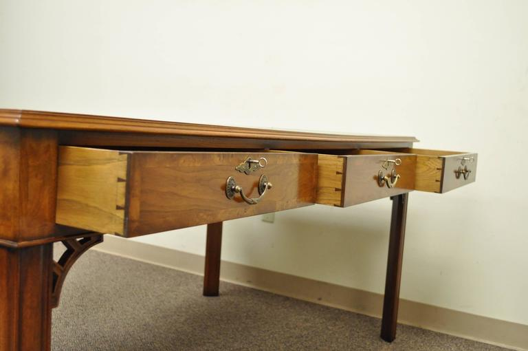 20th Century Custom English Leather Chippendale Style Six-Drawer Partners Desk 3